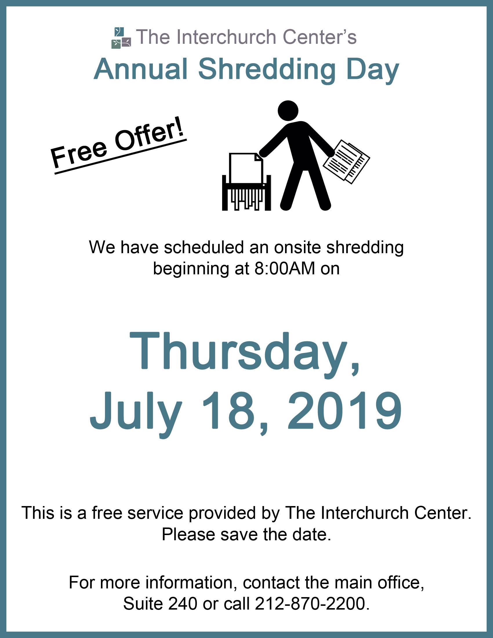 Shredding Day Flyer 2019 | The Interchurch Center